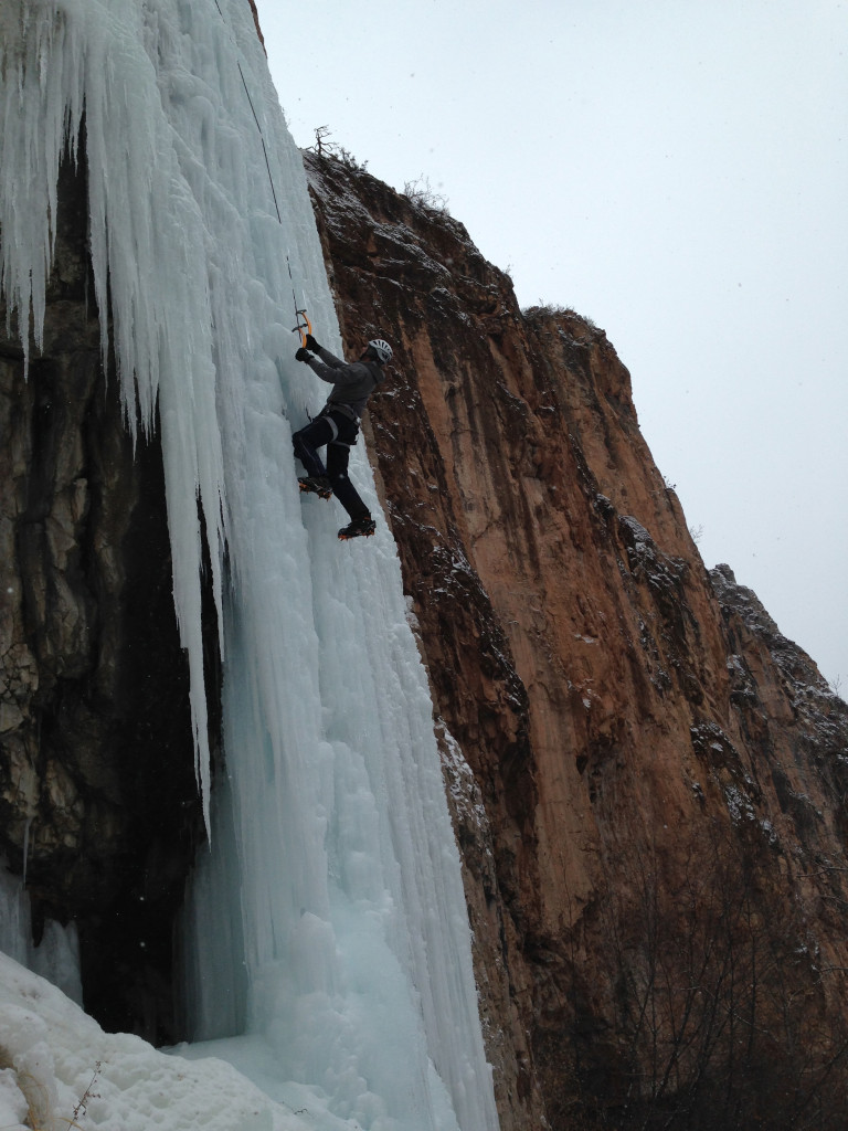 Climbing the Pleasure Pillar in Rifle Mountain Park, CO on 12-21-13.