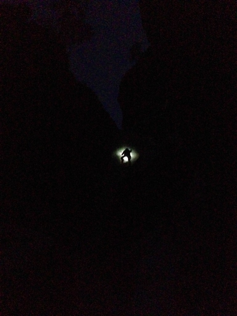 Climbing into the dark on Avocado Gully