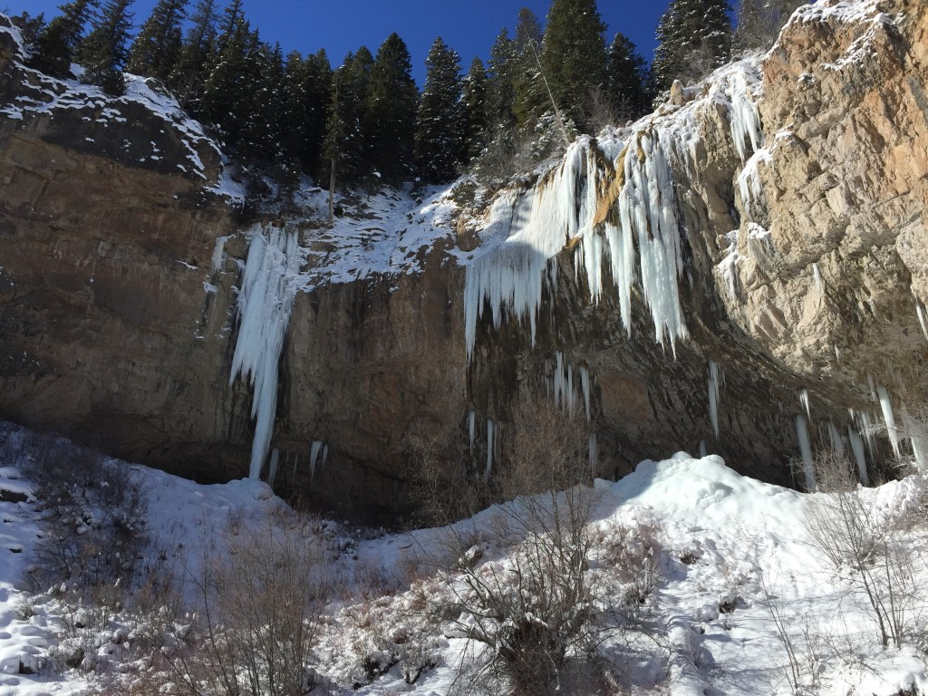Stone Free and The Ice Palace in Rifle Mountain Park on 12-26-15.